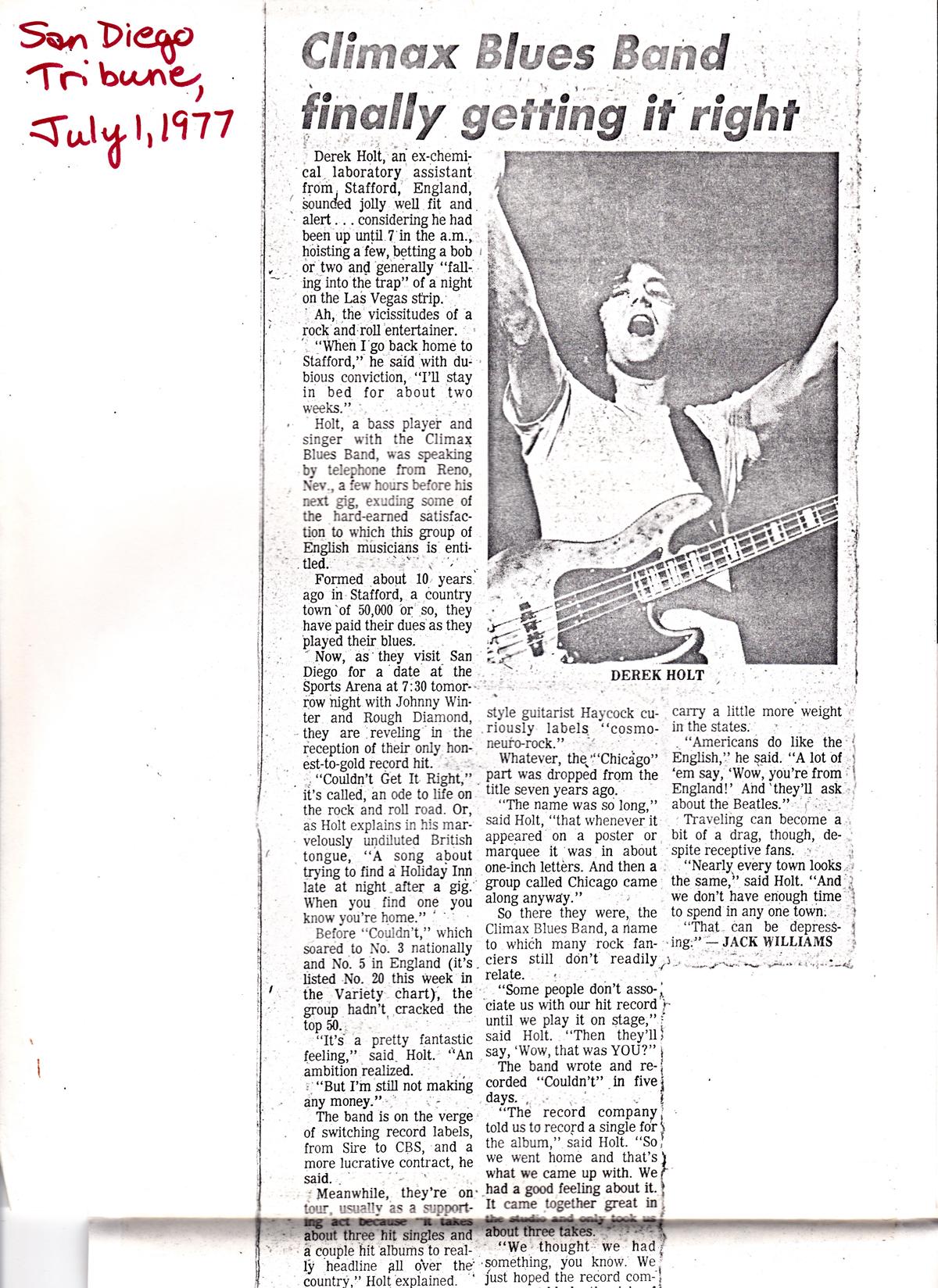 San Diego Tribune 1977